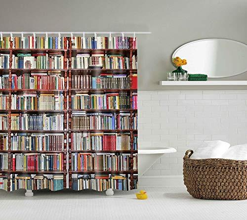 Boyouth Cortinas de ducha con estampado digital para estanterías y libros, para baño, tela impermeable de poliéster con 12 ganchos, 182 x 182 cm, multicolor