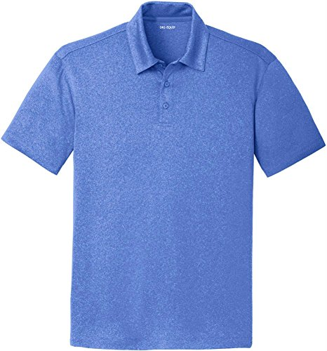 Mens Moisture Wicking Heathered Golf Polos-Royal-L