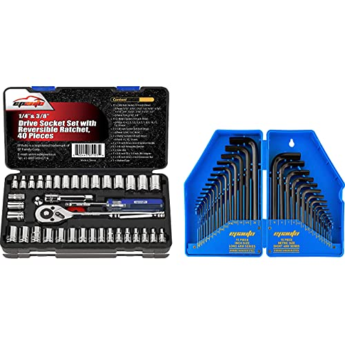 EPAuto 40-Pieces 1/4-Inch & 3/8-Inch Drive Socket Set with 72 Tooth Reversible Ratchet + EPAuto Allen Key Set Hex Key Wrench Set, 30-Pieces (0.028-3/8 inch,0.7-10mm)