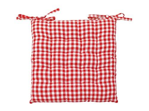 Soleil d'ocre- Cojín de Silla en capitoné de algodón Vichy Rojo