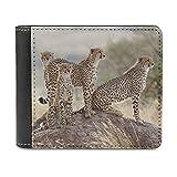 Wildlife Cheetah - Cartera de cuero minimalista delgada, con clip de dinero, para hombres y mujeres, White, Talla única