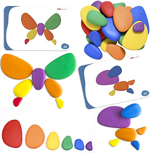 Rainbow Pebbles - Set of 36 Sorting and Stacking Stones with 20 Activity Cards - In Home Learning Toy for Early Math