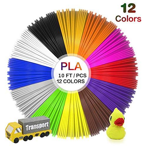 Uzone 3D Stift Farben, 12 Rollen 3D Stifte Filament, Umweltfreundlich Kein Geruch 1.75mm PLA für 3D Drucker Stift, Keine Blasen 3D Druck Filament pla mit 12 Farben(je 3M,Gesamtlänge: 36M)