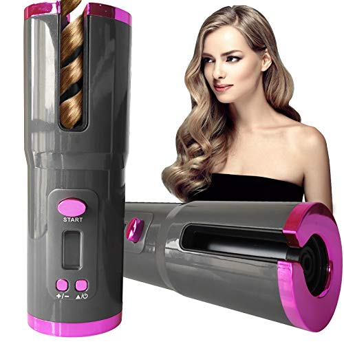 Automatic Hair Curler Cordless, Portable Fast Heating Ceramic Barrel with Adjustable Temperature & Timer,Curling Wand Magic Styling Tools, Fast Heating Ceramic Barrel for Travel