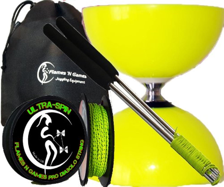 Sundia Fly PRO Ball Bearing Diabolo Set (Yellow)+ Aluminum Metal Diabolo Sticks, 10m  SlidePro  Performance Diabolo String +Fabric Diablo Travel Bag. TOP OF THE RANGE Diabolo set