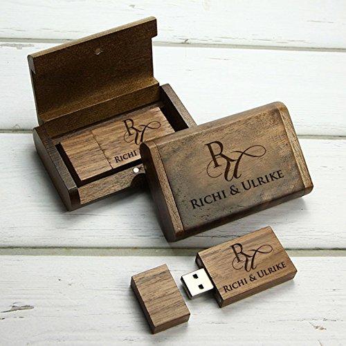 Pixelstudio USB-Stick aus Holz mit Etui! Mit persönlicher Namens- und Initialen Gravur. 16 GB. Box Schatulle Schachtel zb. für Hochzeits Fotografen
