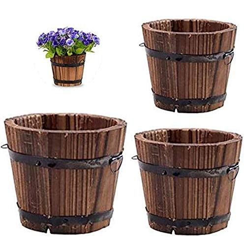 Vtete 3 Pcs Rustic Succulent Planter Box Wood Barrels Flower Pot Plant Container Box for 3 Different Sizes (No Flower)