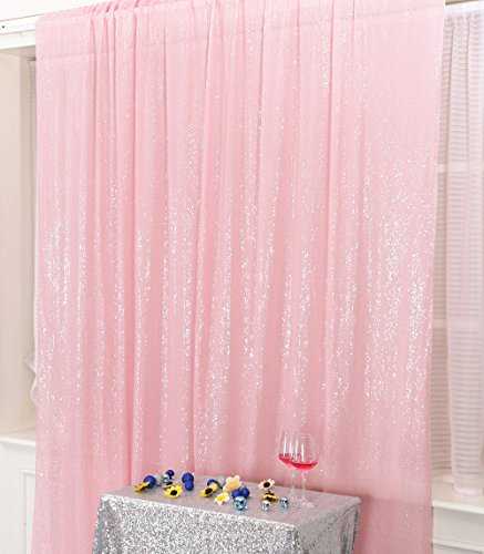 PartyDelight Sequin Backdrop Wedding Curtain Special Events, Party, Pink, 4FTx6FT