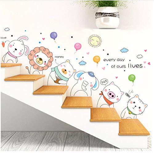 Wijn kat beer konijn dieren muursticker DIY luchtballonnen muurtattoos voor huis kinderen slaapkamer baby kamer decoratie 45x60cm