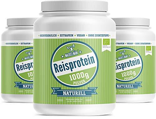 Maskelmän Bio Reisprotein mit 83% Proteingehalt - Veganes Eiweissprotein für Sportler (3 x 1000 g) | BESTE PREIS-LEISTUNG