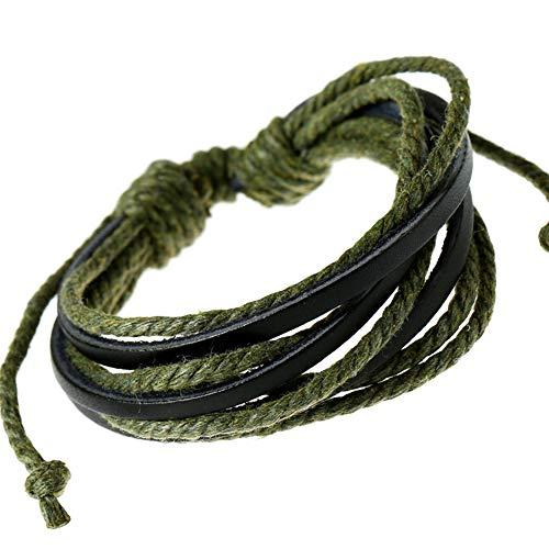 Demarkt–Retro pulsera de piel pulsera enroscable piel wickel pulsera cuerda Vintage Arm maduro Cadena Verde Oscuro y Negro