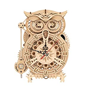 RoWood 3D Wooden Puzzle, Clock Model Kits Gift for Adults & Teens - Owl Clock (161 PCS) by Rowood