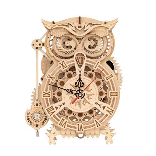 RoWood 3D Wooden Puzzle, Clock Model Kits Gift for Adults & Teens - Owl Clock (161 PCS)