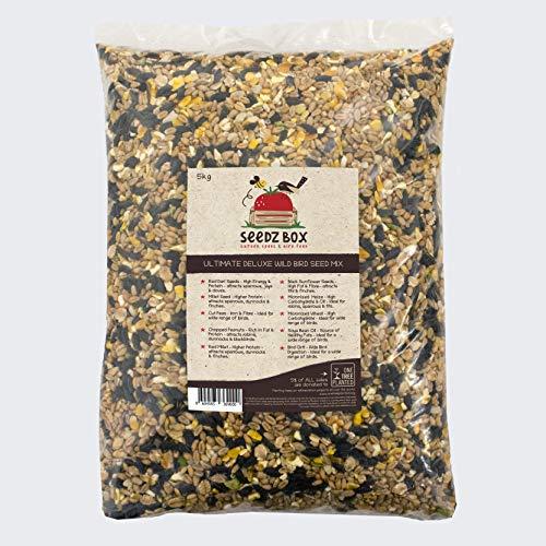 Seedzbox Le Luxueux Mélange Complet de Graines et Noix pour Tout Oiseaux Sauvages - Pinsons, Merles, Moineaux - Nourriture Naturelle, Saine, Équilibré en Fibres, Protéines, Graisses Saines Sac 5 kg