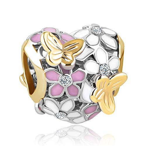CharmSStory Orchid Flower Love Enamel Charm Beads Charms for Bracelets (Flower)