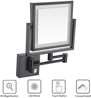 BMJ&CSquare Bathroom Mirrors Wall Mounted with 3X Magnification, Touch Screen Folding Vanity Lamp Retractable Swivel Shaving Mirror, Concealed Install for Home, Spa and Hotel