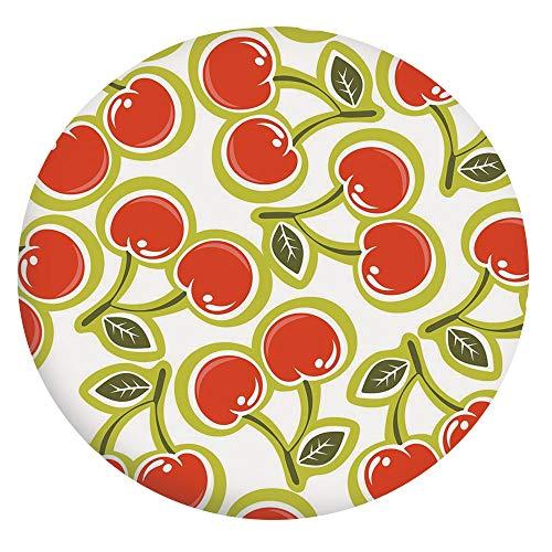 Nappe en polyester avec bords élastiques - Motif cerise et feuilles - Pour table ronde de 61 cm - Idéale pour protéger la table - Vert pomme, rouge, blanc