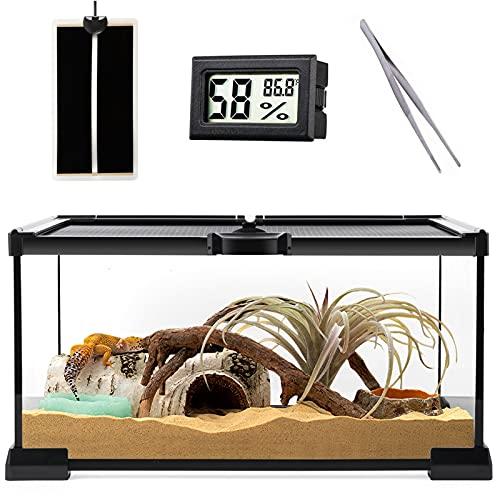 "Reptile Glass Terrarium - Amphibians Habitat Cages 12"" x 8"" x 6.3"" Starter Kits, Top Sliding Door Screen Ventilation Mini Tanks with Heating Mat, Stainless Steel Tweezer, Hygrometer Thermometer"