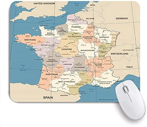 Tapis de souris de jeu, carte de la France, pays vintage, Lyon, rouge foncé détaillé, Bordeaux, finance d