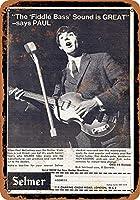Shimaier 20×30cm 米国金属ブリキ看板ホーム装飾Hofnerベースギターのための1964人のポールマッカートニー