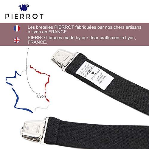 PIERROT Bretelles Homme Larges et Vintage - 29 Coloris - Taille Ajustable Jusqu'à 130cm -...