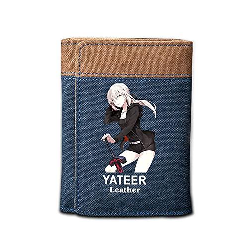 Qiqioog Schwarz Altria,Fate Grand Order Vertical Soft Wallet,Ultradünne, wasserdichte, strapazierfähige, verschleißfeste Leinwand,Universal Herren Damen Studenten Women