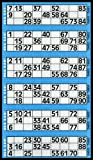 Bingo-Tickets mit je 6 Feldern (insgesamt 600), Blau -