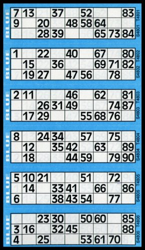 Bingo-Tickets mit je 6 Feldern (insgesamt 600), Blau