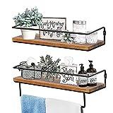 QEEIG Farmhouse Bathroom Shelf Floating Shelves for Wall with Towel Bar Over Toilet Walls Mounted Shelfs Kitchen Small Shelfslves Restroom Hanging Shelving Set of 2, Rustic Brown (FS636)