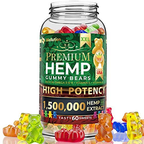Hemp Gummies Premium 9000MG High Potency - 150 Per Fruity Gummy Bear with Hemp Oil   Natural Hemp Candy Supplements for Pain, Anxiety, Stress & Inflammation Relief   Promotes Sleep & Calm Mood