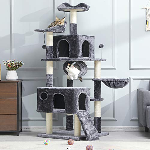 MSmask Kratzbaum groß, 175cm Kletterbaum für große Katzen, XXL Katzenbaum, Stabiler Kratzbaum Grosse Katzen mit Höhlen Sisal-Kratzstangen (Dunkelgrau)