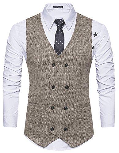 WHATLEES Herren Schmale Tweed Weste mit zweireihige Knopfleiste  , B729-khaki , XL