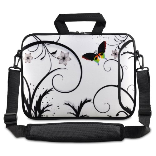 White&Butterfly 9.7' 10' 10.1' inch netbook tablet Shoulder Case Carrying Bag For Amazon Kindle DX /Apple iPad 2 3/Lenovo S10 /Acer/Aspire ONE /ASUS EEEPC /HP /Dell Inspiron Min/Toshiba /Samsung/Sony