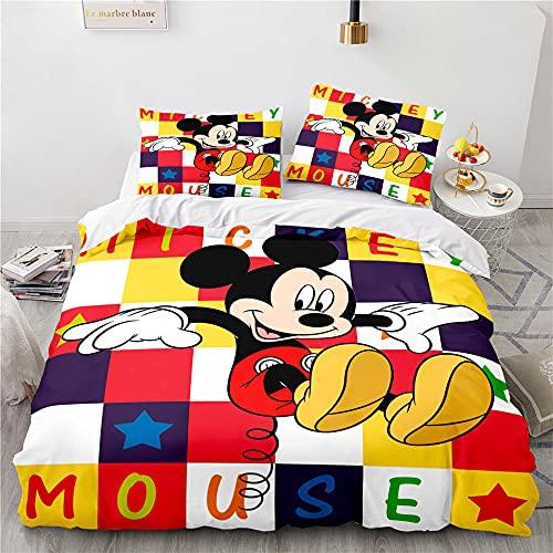 Funda Nordico Mickey Mouse Ropa De Cama 3 Piezas Microfibre con Cremallera Fundas Nordicas Juveniles Funda Nordico 220X240 Cm + 2 Fundas De Almohada 50X75 Cm