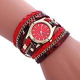 -Reloj de pulsera analógico de Sonnena Watches, de acero inoxidable, con joyas, estilo bohemio informal, para mujeres, como regalo de San Valentín, rojo, Watch