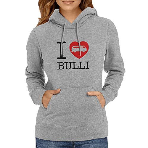 Texlab I Love Bulli T3 Sudadera con Capucha, Mujer, Gris, Large