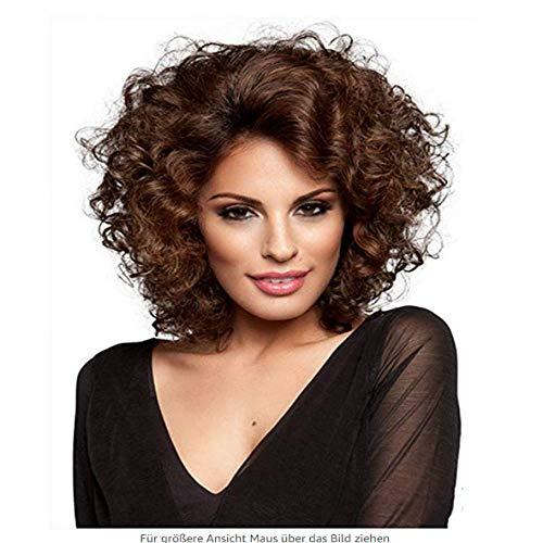 Petits cheveux bouclés courts et moelleux bruns, 30 cm, cheveux féminins simulés, soie haute température en fibre chimique, perruque pour les femmes