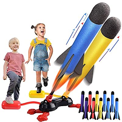 LQYoyz Kids Outdoor Toys, Duel Rocket Launcher Toys Gifts for 4, 5, 6, 7, 8, 9, 10, 11 Year Old Boys, Girls, Kids - Shoot Up to 100 Feet (10 Rockets)