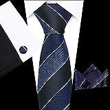CCYUANG CorbatasDeHombre Conjunto De Corbata De Seda para Hombre Corbatas De Lunares Y Gemelos De Pañuelo Traje De Fiesta De Boda para Hombres Tie-S124