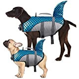 Kuoser Dog Life Jacket Vest, Adjustable Dogs Swimming Vest with Shark Fin, Safety High Visibility Pet Floatation Vest Life Preserver for Small Medium and Large Dogs for Swimming and Boating Blue S