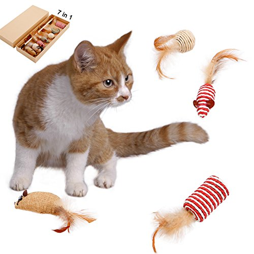 Interactive Kitten Toys Wand Feather Collection in Gift Box 7 Pieces,Cat Teaser Toy,Cat Toy Mouse Cat Best Toys Set,Natural Sisal Wand Teasers with Feather,Bell,Elastic String and Sturdy Wood Rod (2)