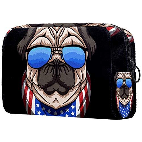 AITAI Bolsa grande de maquillaje organizador de cosméticos de viaje lindo perro carlino con gafas