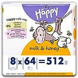 bella baby Happy Feuchttücher mit Milch & Honig, 8er Pack (8 x 64 Stück) vielseitig, sanft und weich zur Babyhaut
