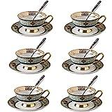 yunyu Juego de té de cerámica Taza de té Taza de café Royal Classic 8 oz (200 ml) Servicio de Taza, con Plato y Cuchara Juego de Taza de té Juego de té, para Fiesta Familiar, Fiesta de café, té de f