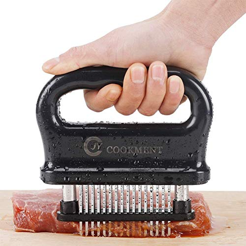 Meat Tenderizer with 48 Stainless Steel Ultra Sharp Needle Blades, Kitchen Cooking Tool Best for Tenderizing, BBQ, Marinade by JY COOKMENT