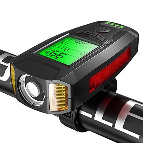 Montloxs Luces de Bicicleta LED Faros Delanteros de Ciclismo con bocina de 130dB Velocímetro de Bicicleta Altavoz Contador de calorías USB Recargable 5 Modos de luz para Ciclismo al Aire Libre