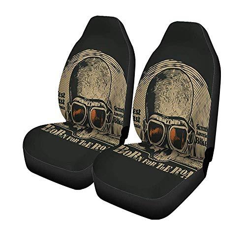 Beth-D Set met 2 stoelhoezen voor autostoelen, vintage, voor motorfiets, bril, symbolen, bikers, voorstoelen, universele beschermer, 14-17 inch