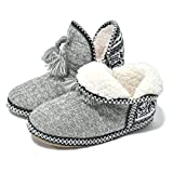 GPOS Women's Cashmere Knit House Slipper Booties Cotton Quilted Warm Indoor Ankle Boots Grey