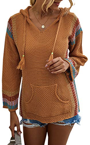 Angashion Women's Sweaters Pullover V Neck Long Sleeves Striped Patchwork Hooded Loose Knit Casual Sweater Tops with Pocket Orange Small