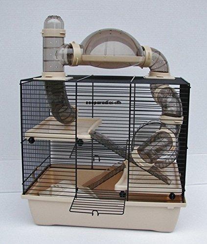 Interzoo Teddy Lux Rocky Cage pour hamster ou souris avec bac et ensemble de tunnels beiges